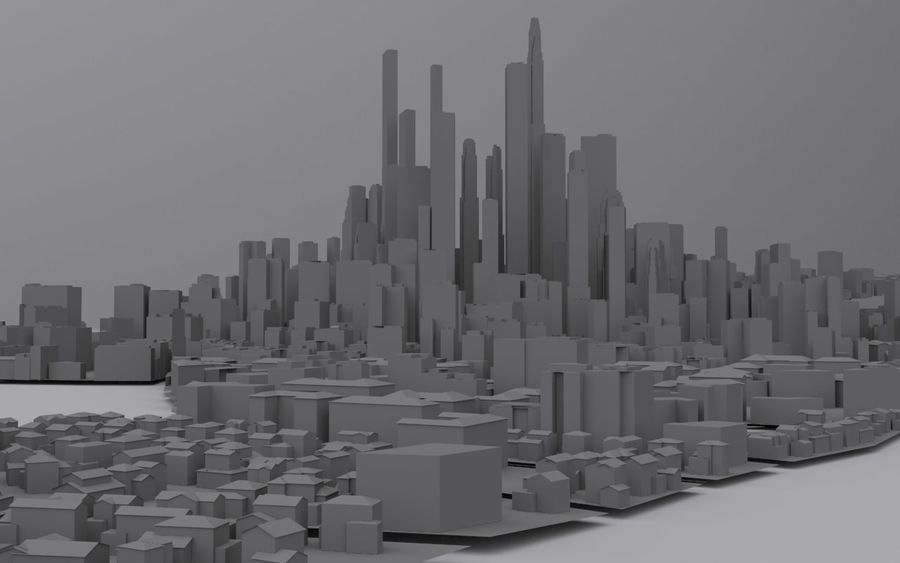 Distant City royalty-free 3d model - Preview no. 1