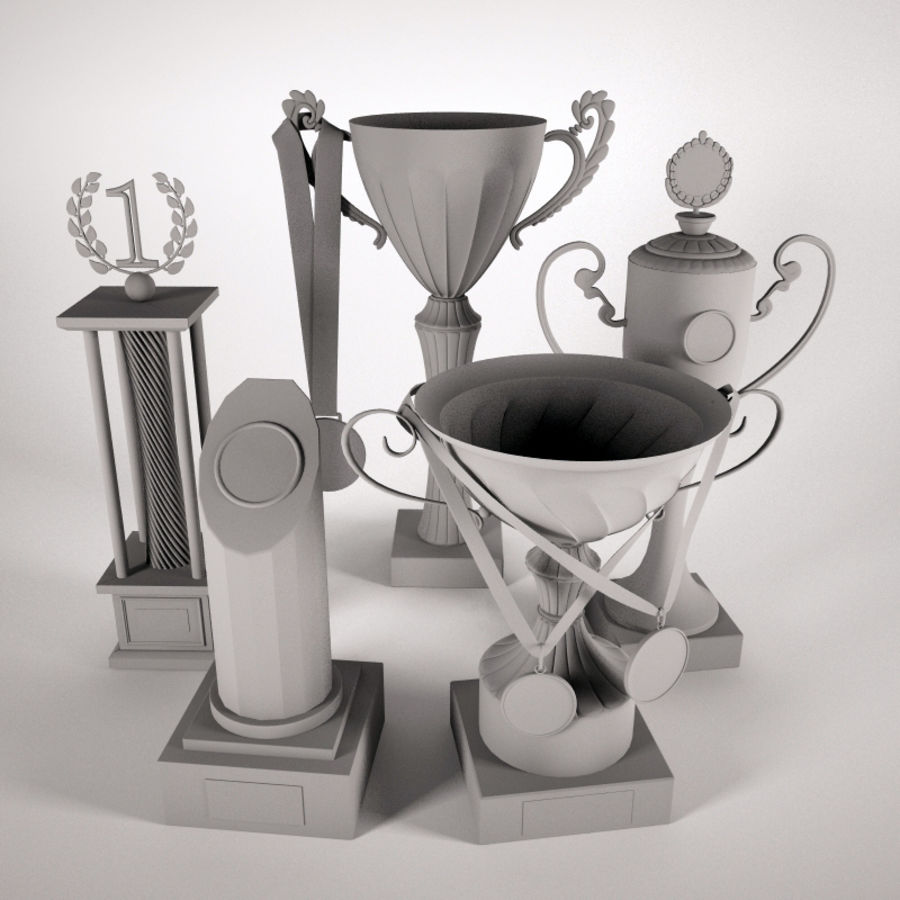 Trophy Cup - Award Set royalty-free 3d model - Preview no. 4