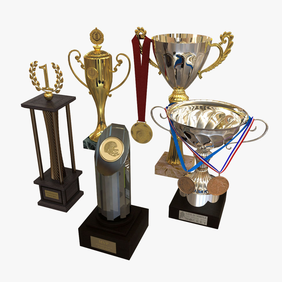 Trophy Cup - Award Set royalty-free 3d model - Preview no. 1