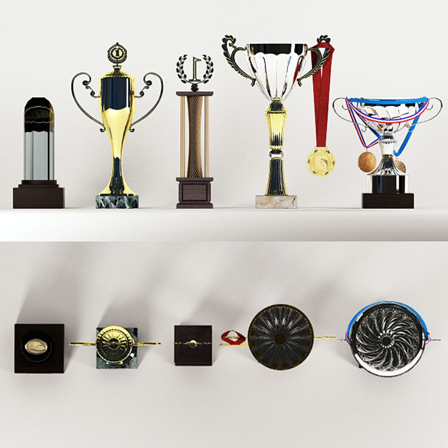 Trophy Cup - Award Set royalty-free 3d model - Preview no. 6
