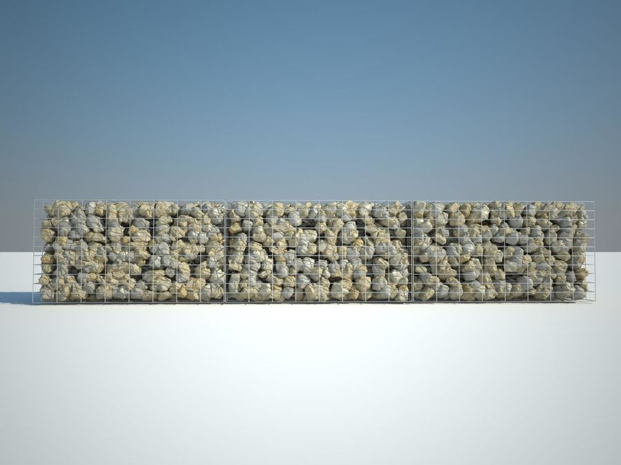 Gabion stenen muur royalty-free 3d model - Preview no. 2