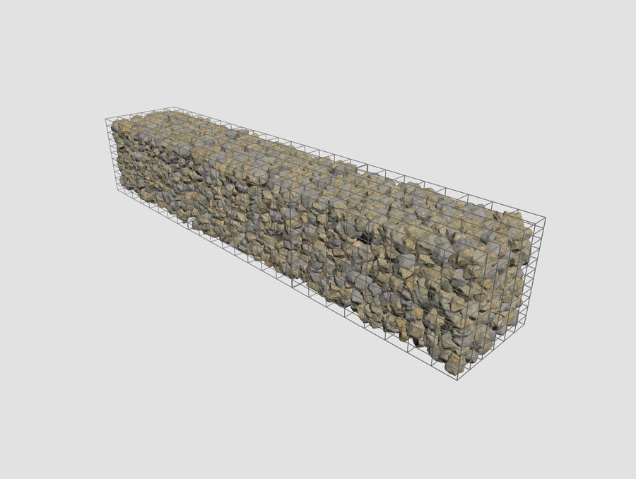 Gabion stenen muur royalty-free 3d model - Preview no. 4