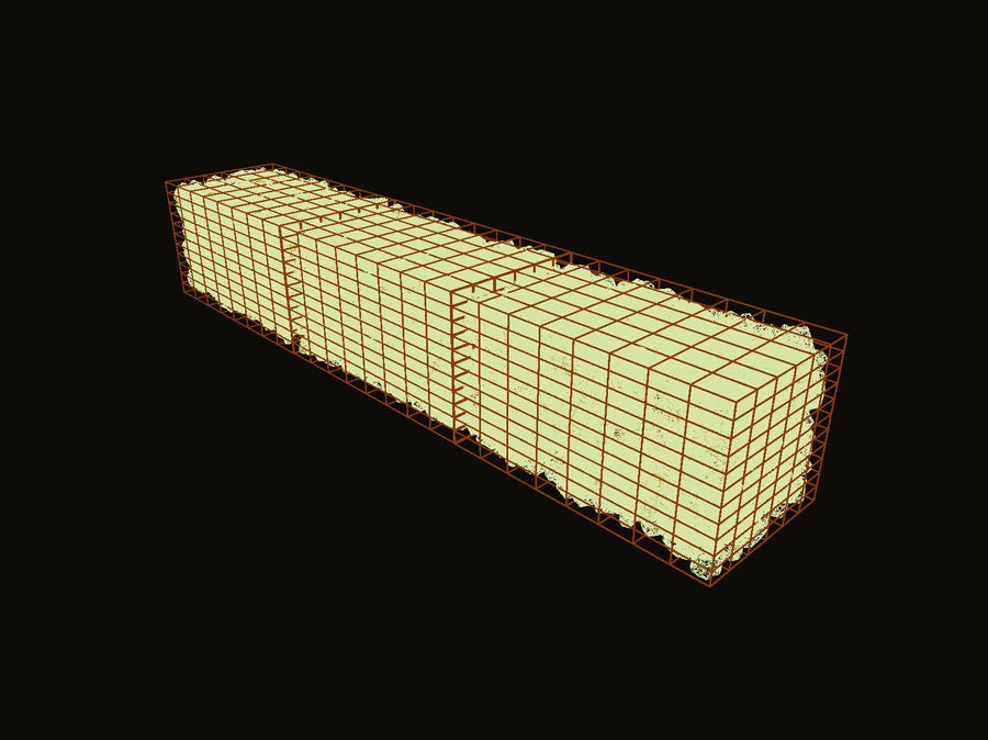 Gabion stone wall royalty-free 3d model - Preview no. 5