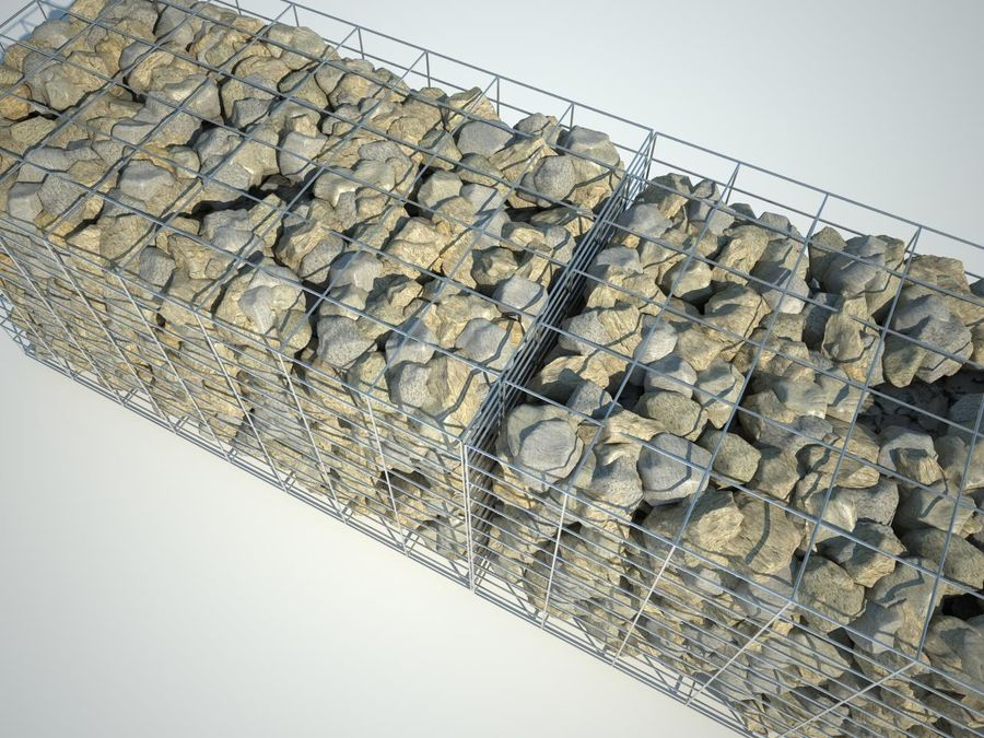 Gabion stone wall royalty-free 3d model - Preview no. 3