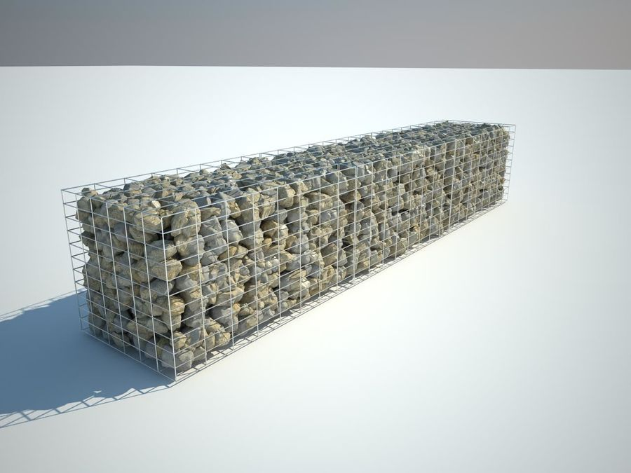 Gabion stone wall royalty-free 3d model - Preview no. 1