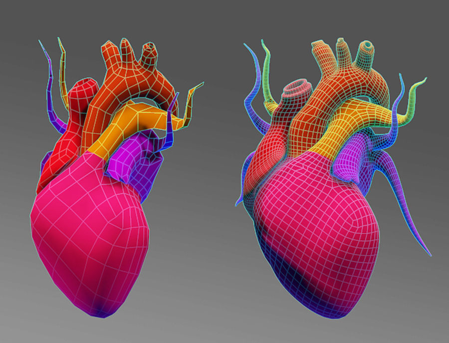 Heart Low High Poly royalty-free 3d model - Preview no. 5