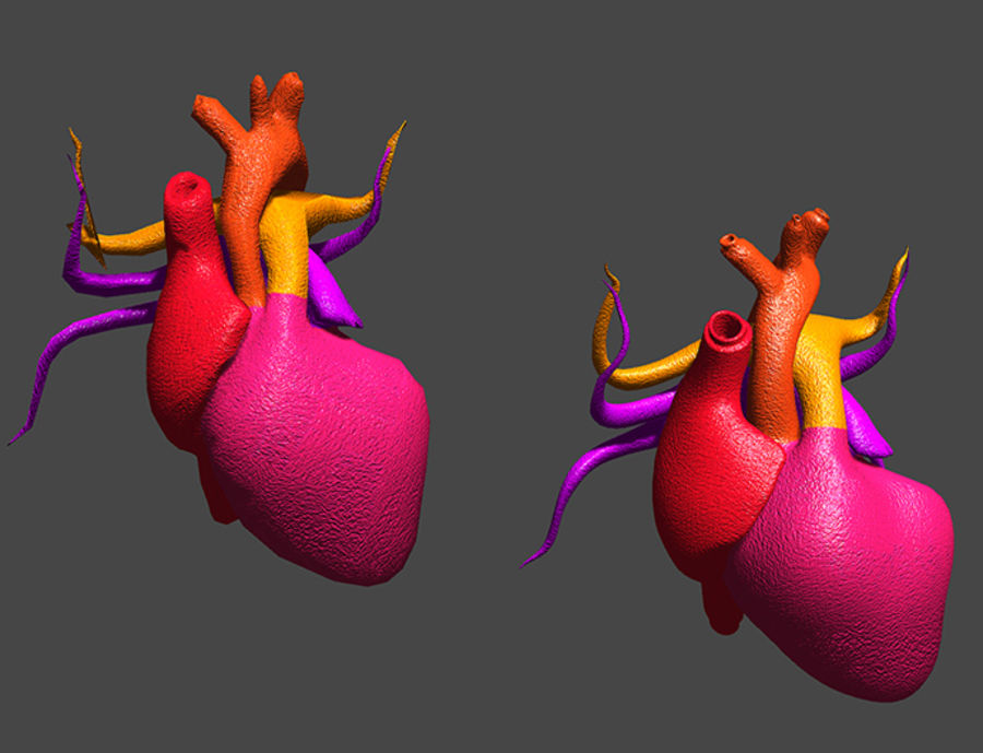 Heart Low High Poly royalty-free 3d model - Preview no. 3