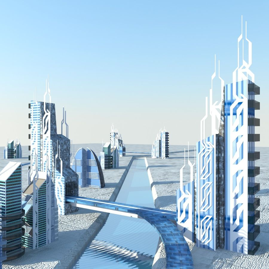 Future City set royalty-free 3d model - Preview no. 6