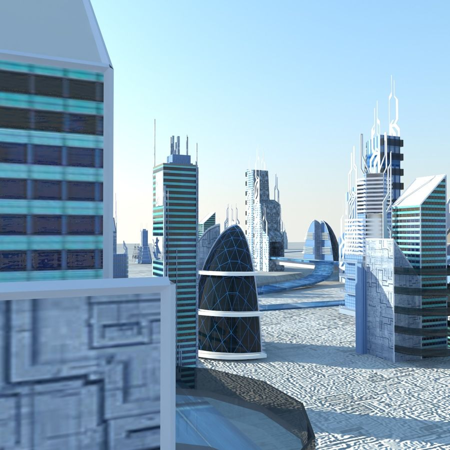 Future City set royalty-free 3d model - Preview no. 3