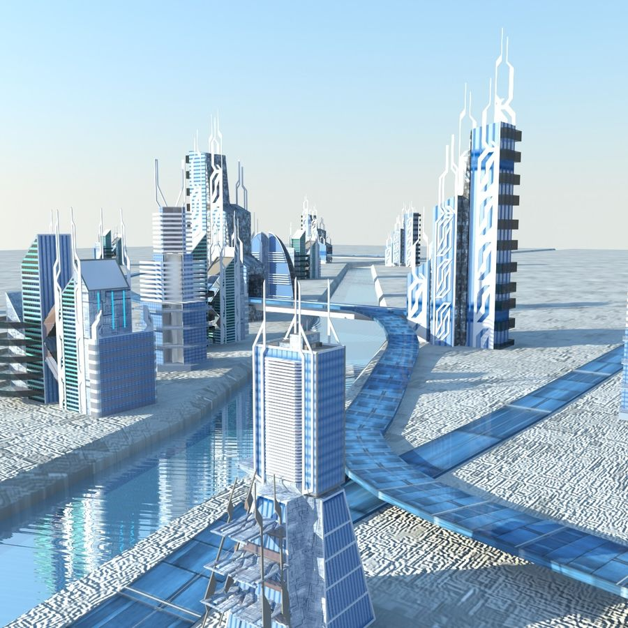 Future City set royalty-free 3d model - Preview no. 2
