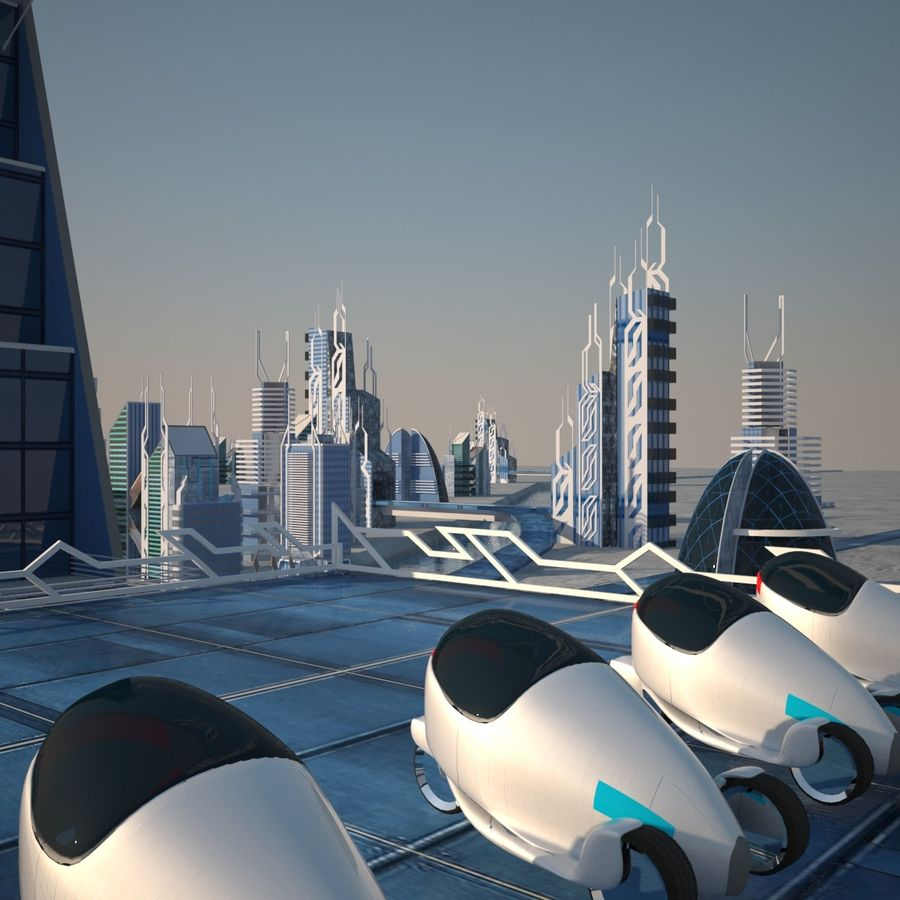 Future City set royalty-free 3d model - Preview no. 7