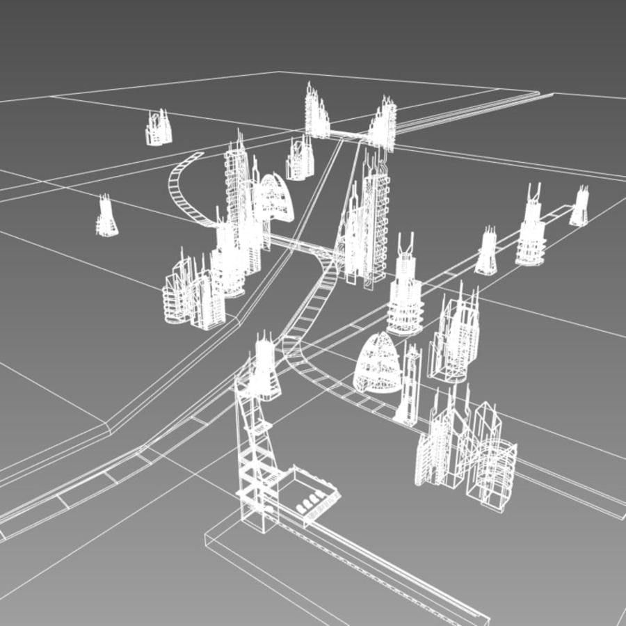 Future City set royalty-free 3d model - Preview no. 8