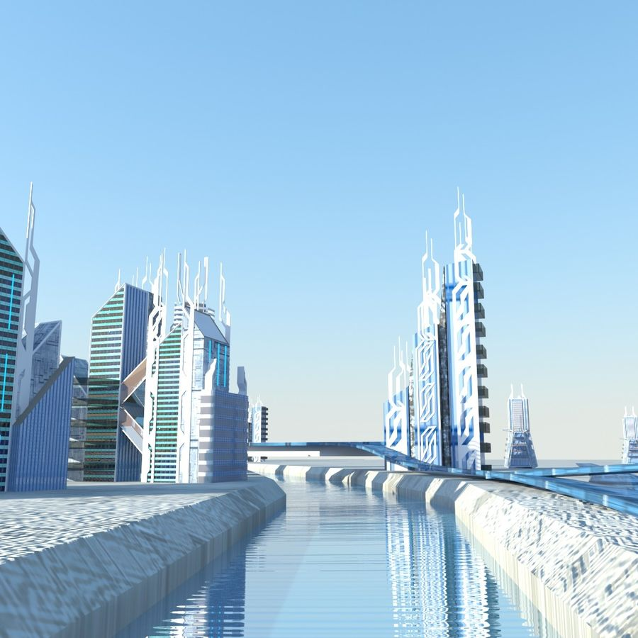 Future City set royalty-free 3d model - Preview no. 5