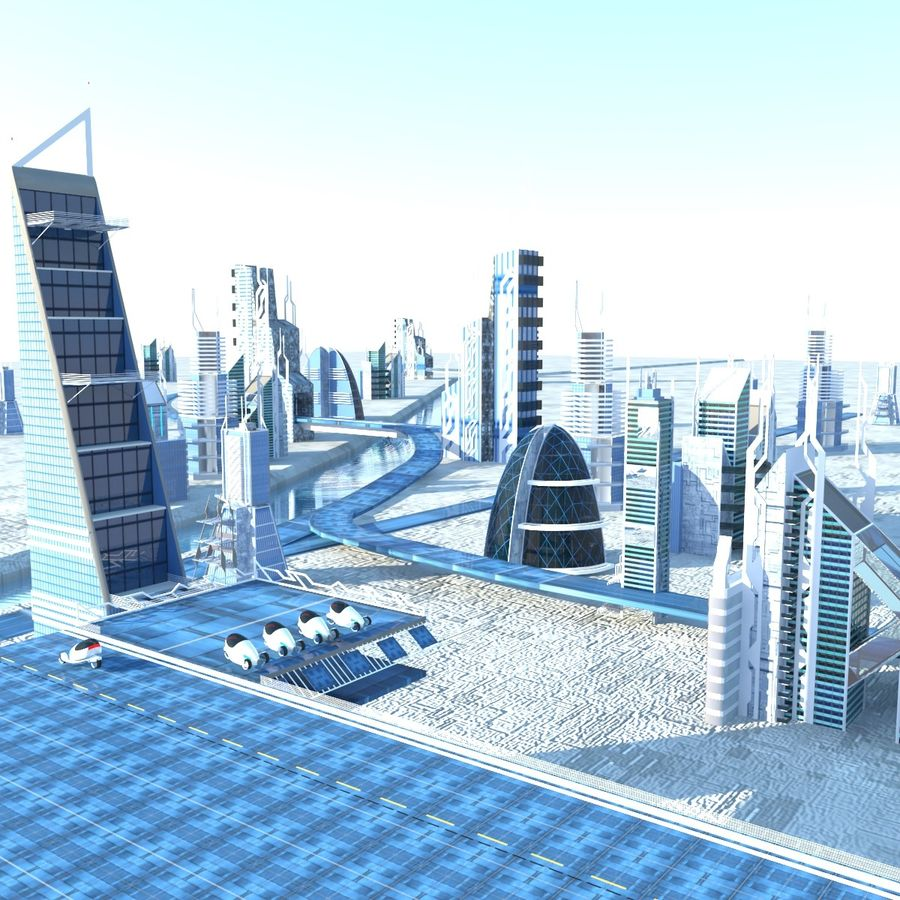 Future City set royalty-free 3d model - Preview no. 1