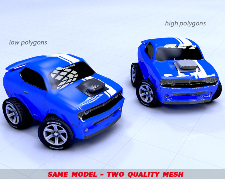 Toon Car Challeng two mesh royalty-free 3d model - Preview no. 4