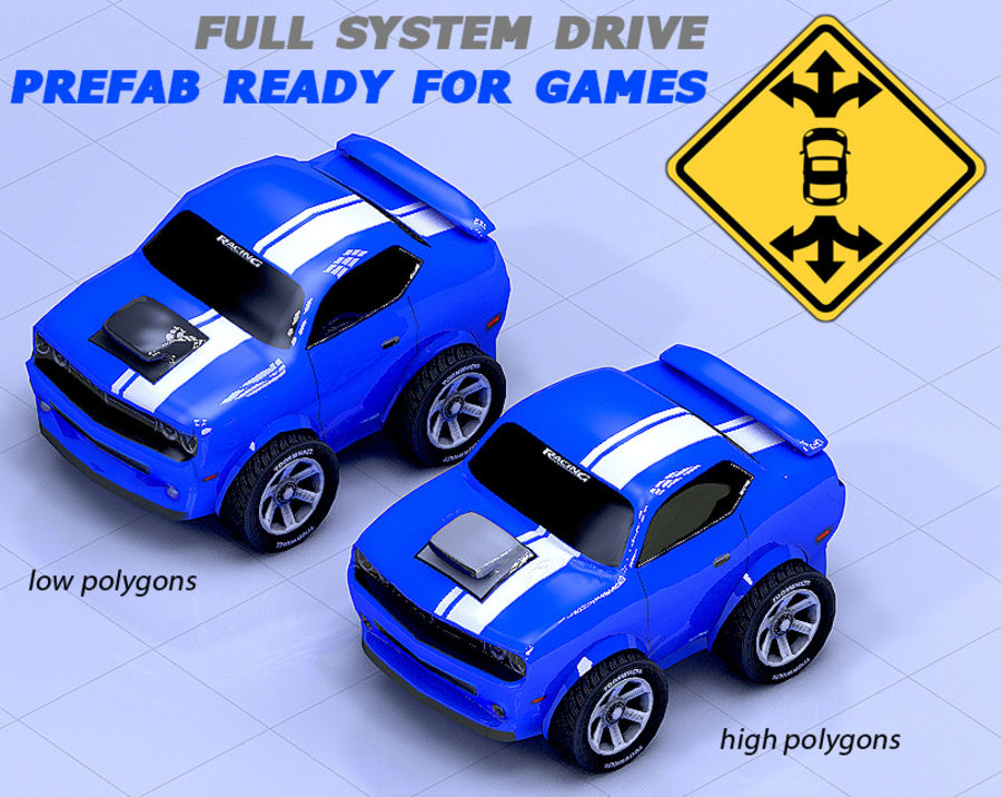 Toon Car Challeng two mesh royalty-free 3d model - Preview no. 5