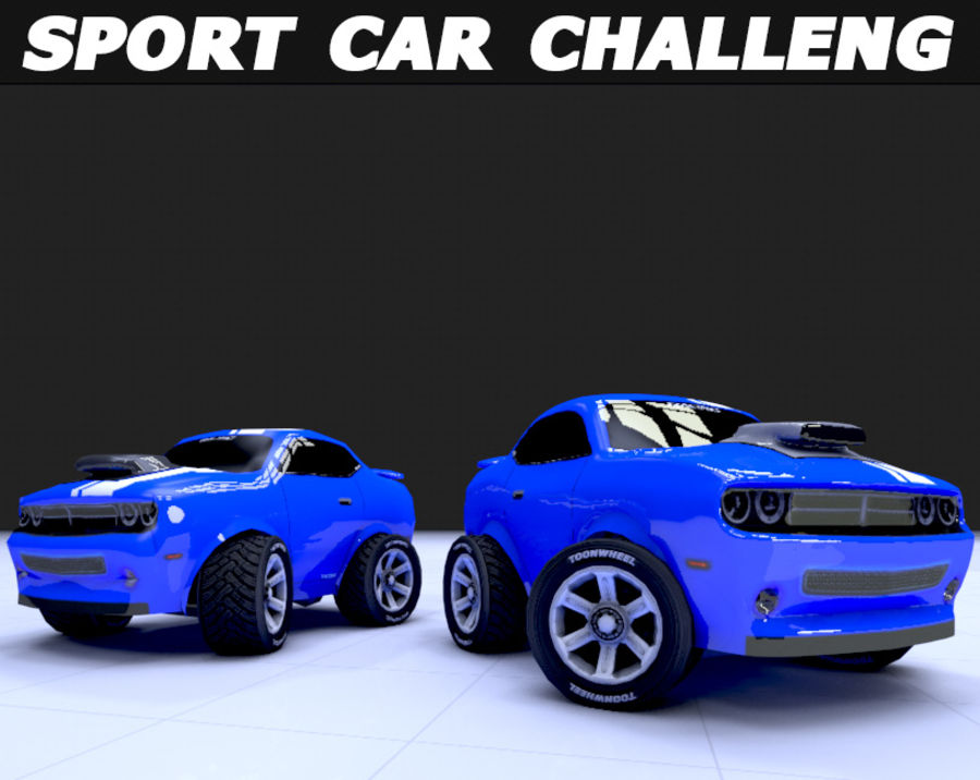 Toon Car Challeng two mesh royalty-free 3d model - Preview no. 3