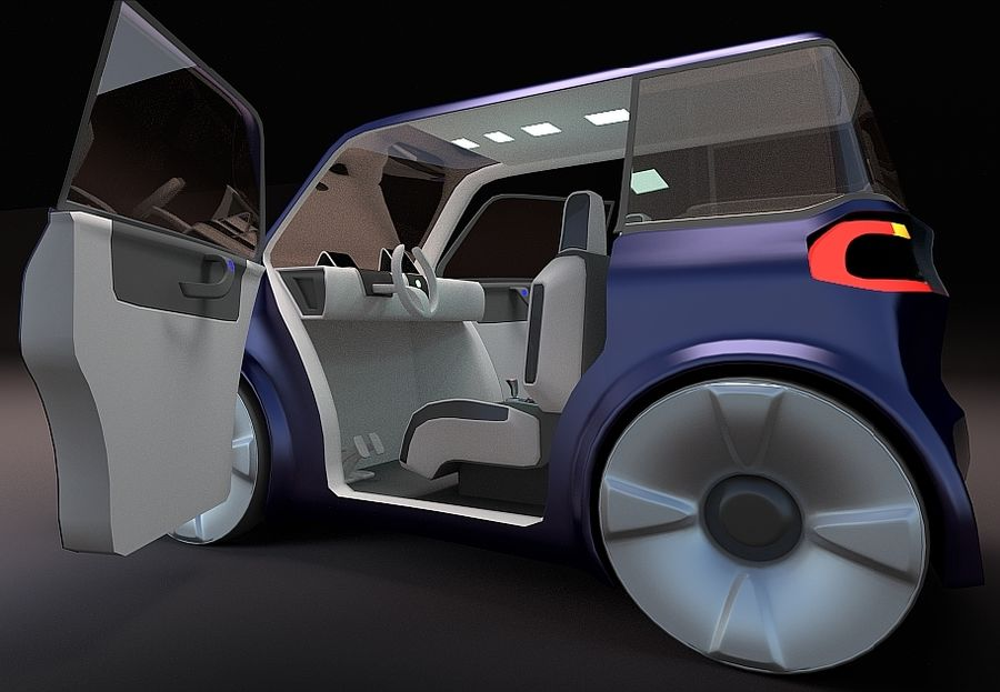 Compact electric concept car 9 v2 royalty-free 3d model - Preview no. 1