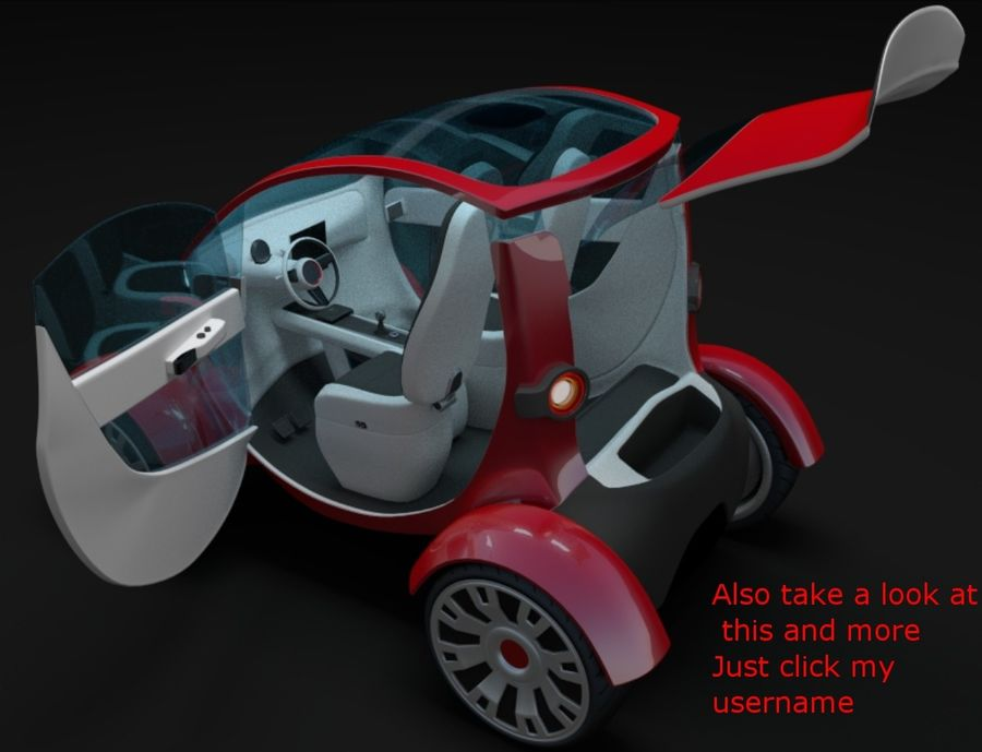 Compact electric concept car 9 v2 royalty-free 3d model - Preview no. 14