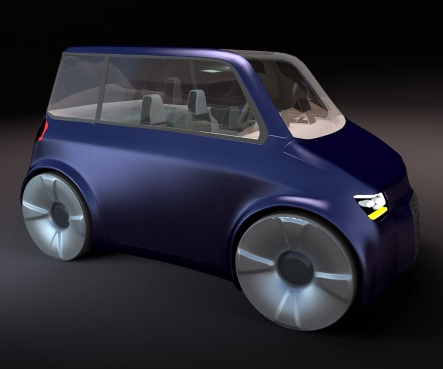Compact electric concept car 9 v2 royalty-free 3d model - Preview no. 3