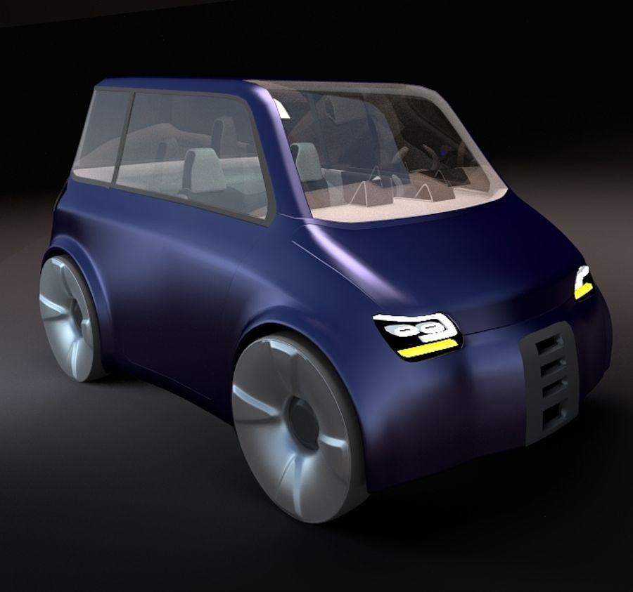 Compact electric concept car 9 v2 royalty-free 3d model - Preview no. 2