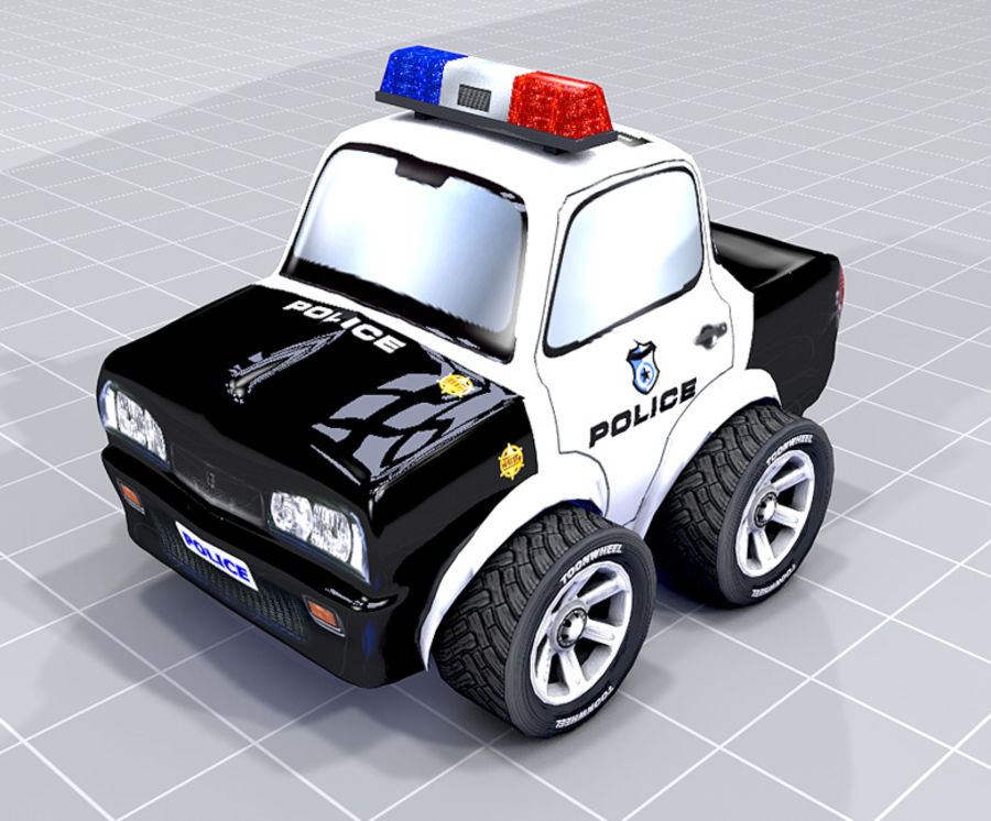 Police Car Toon (2 mesh quality) royalty-free 3d model - Preview no. 4