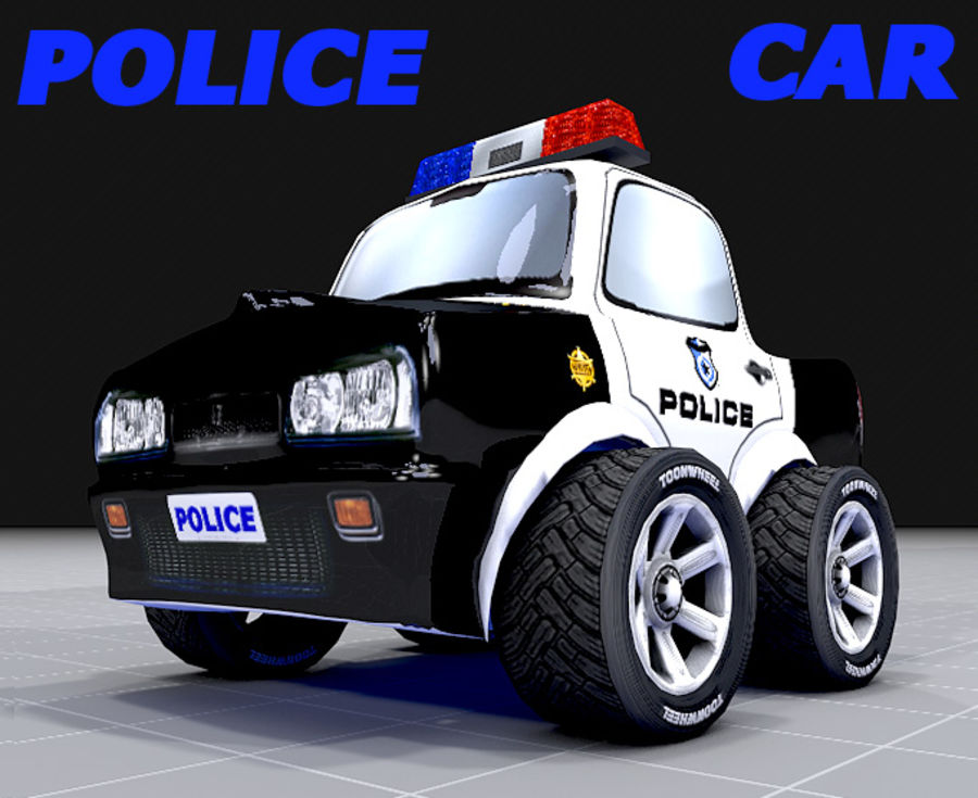 Police Car Toon (2 mesh quality) royalty-free 3d model - Preview no. 6