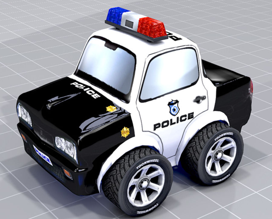 Police Car Toon (2 mesh quality) royalty-free 3d model - Preview no. 8