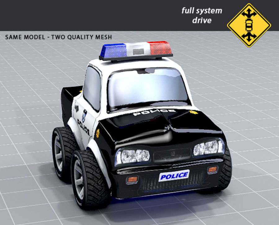 Police Car Toon (2 mesh quality) royalty-free 3d model - Preview no. 7