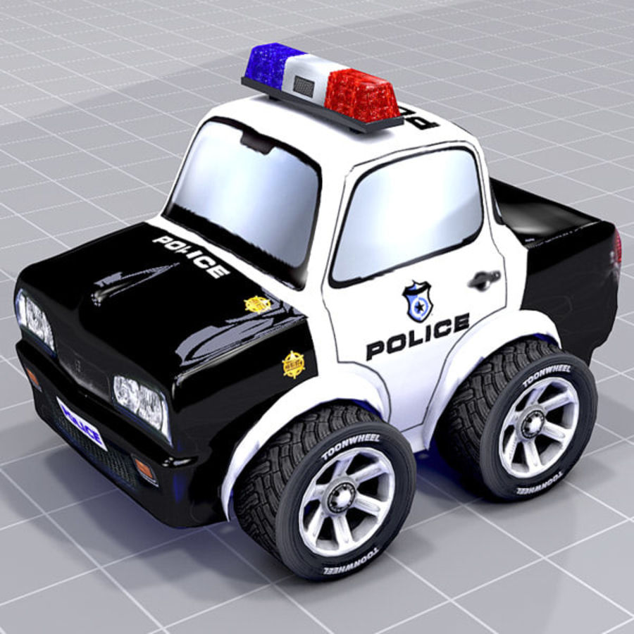 Police Car Toon (2 mesh quality) royalty-free 3d model - Preview no. 1