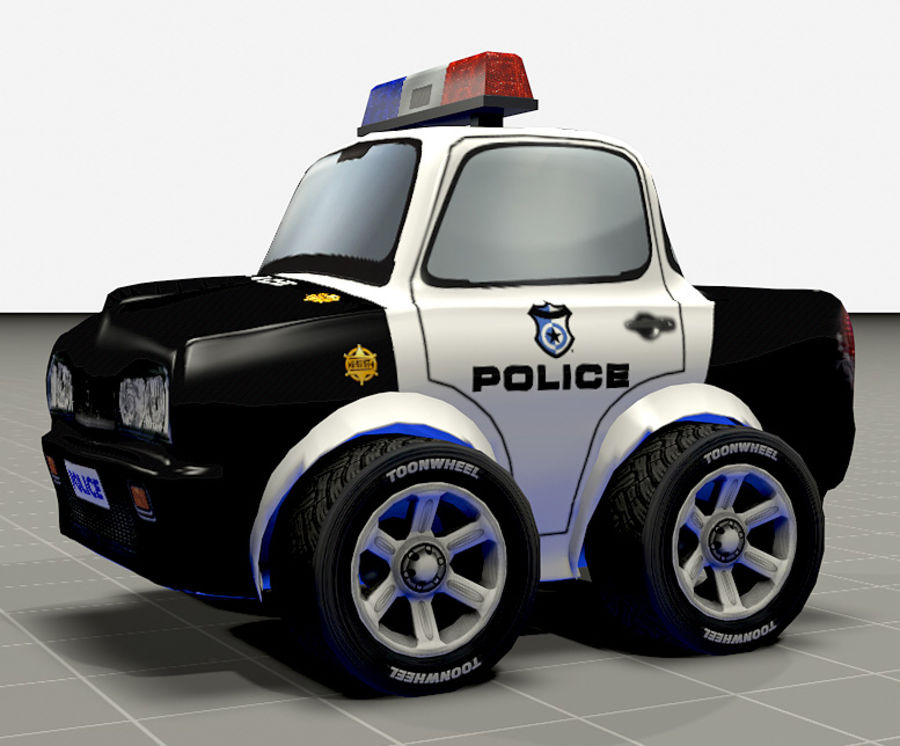 Police Car Toon (2 mesh quality) royalty-free 3d model - Preview no. 3