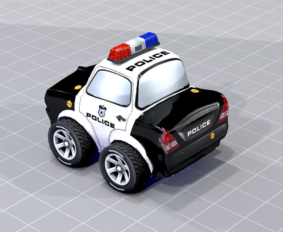 Police Car Toon (2 mesh quality) royalty-free 3d model - Preview no. 5