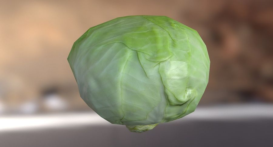 Low Poly Cabbage - Game Ready royalty-free 3d model - Preview no. 4