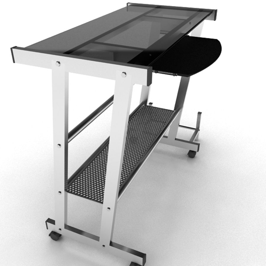 Steel Computer Table royalty-free 3d model - Preview no. 3