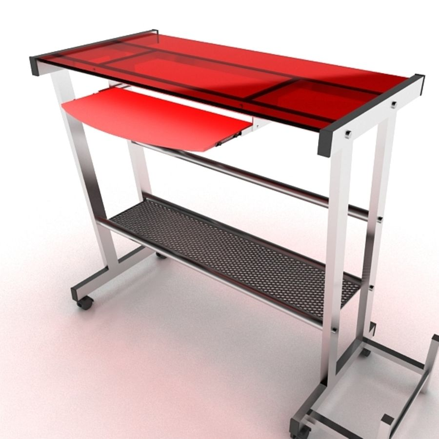 Steel Computer Table royalty-free 3d model - Preview no. 2