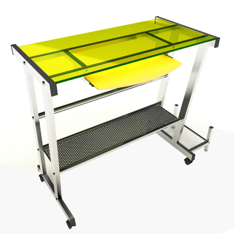 Steel Computer Table royalty-free 3d model - Preview no. 1
