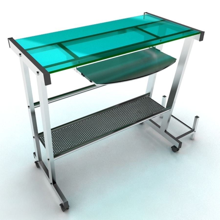 Steel Computer Table royalty-free 3d model - Preview no. 5