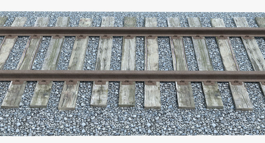 Railroad Track With Gravel royalty-free 3d model - Preview no. 2