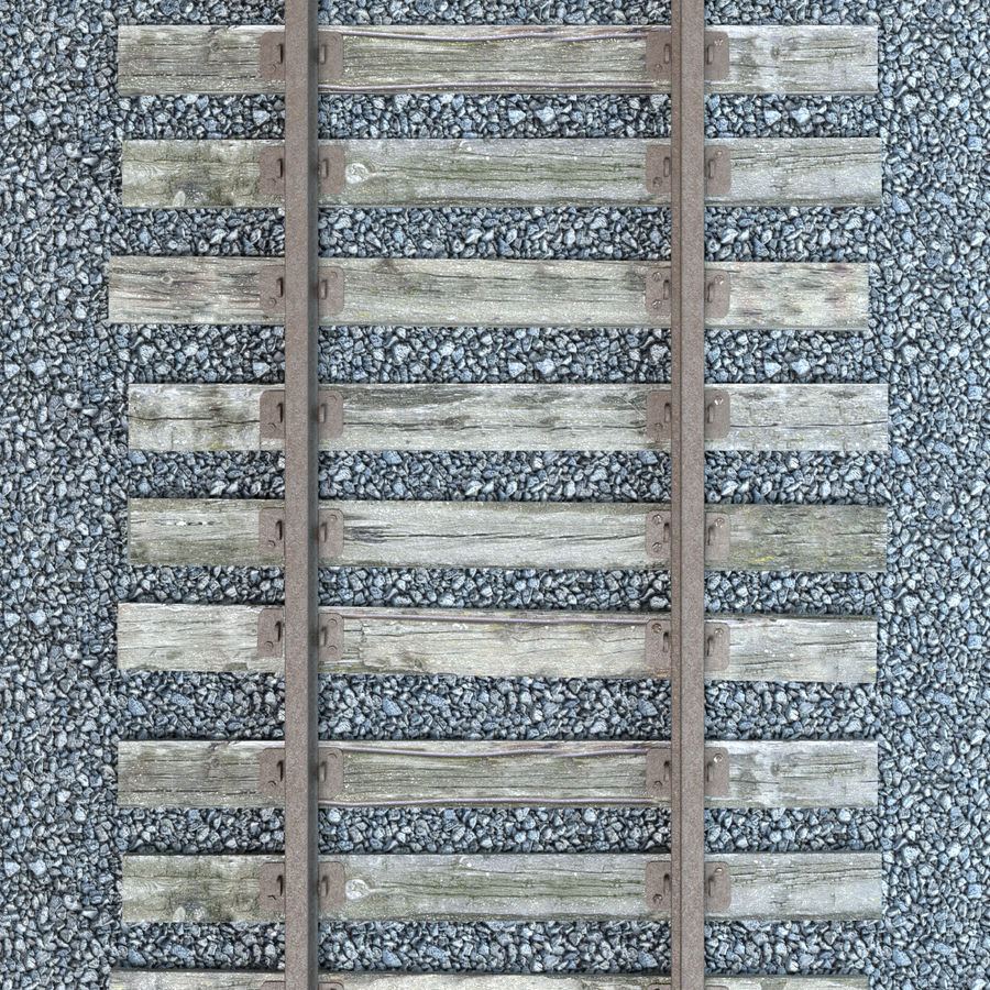 Railroad Track With Gravel royalty-free 3d model - Preview no. 4