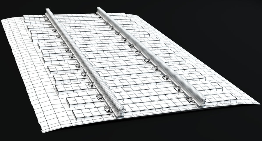 Railroad Track With Gravel royalty-free 3d model - Preview no. 8