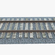 Railroad Track With Gravel 3d model