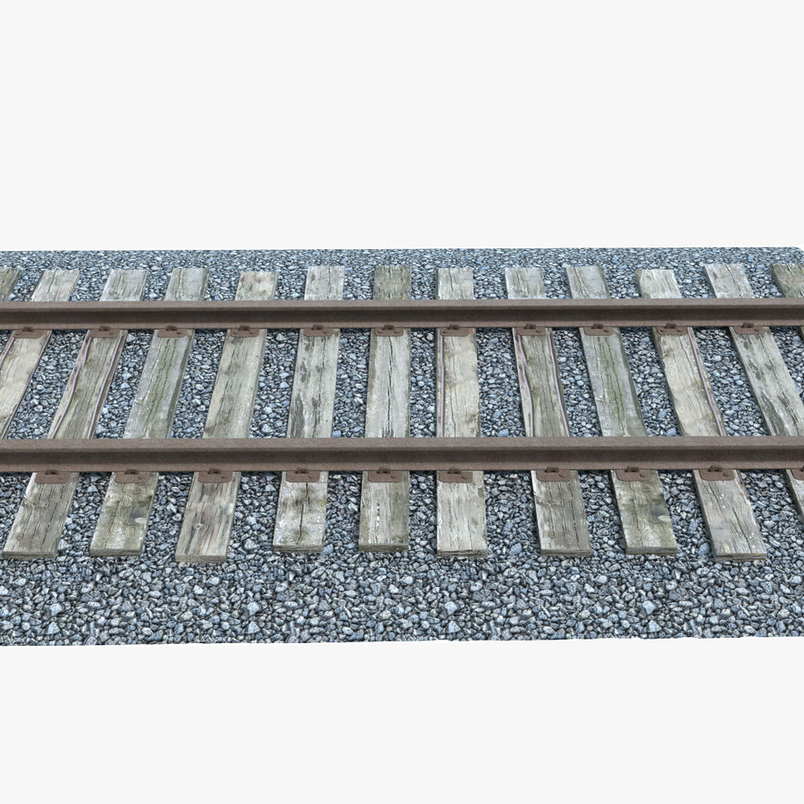 Railroad Track With Gravel royalty-free 3d model - Preview no. 1