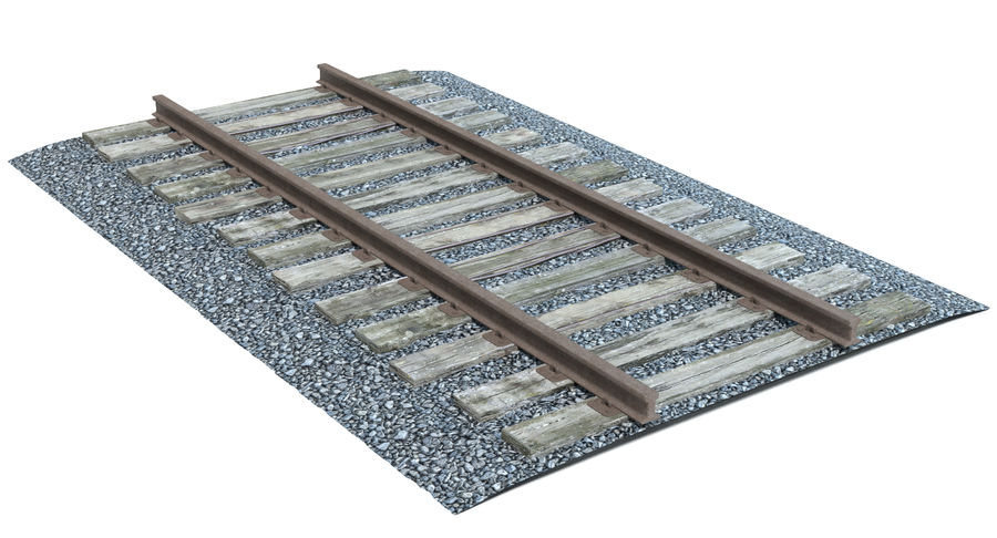 Railroad Track With Gravel royalty-free 3d model - Preview no. 3