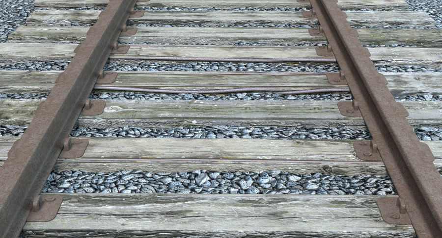 Railroad Track With Gravel royalty-free 3d model - Preview no. 5