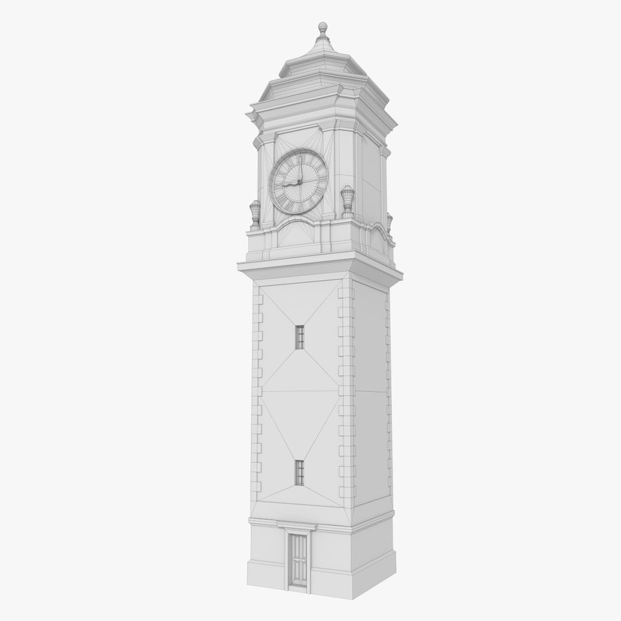 Clock tower one royalty-free 3d model - Preview no. 9