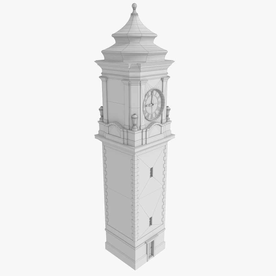Clock tower one royalty-free 3d model - Preview no. 10