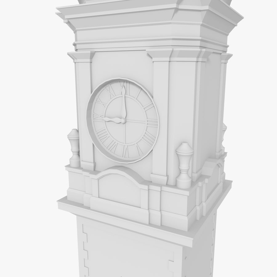 Clock tower one royalty-free 3d model - Preview no. 5