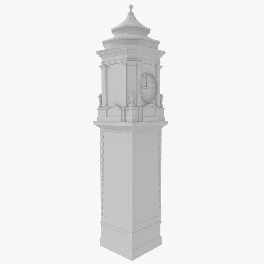 Clock tower one royalty-free 3d model - Preview no. 4