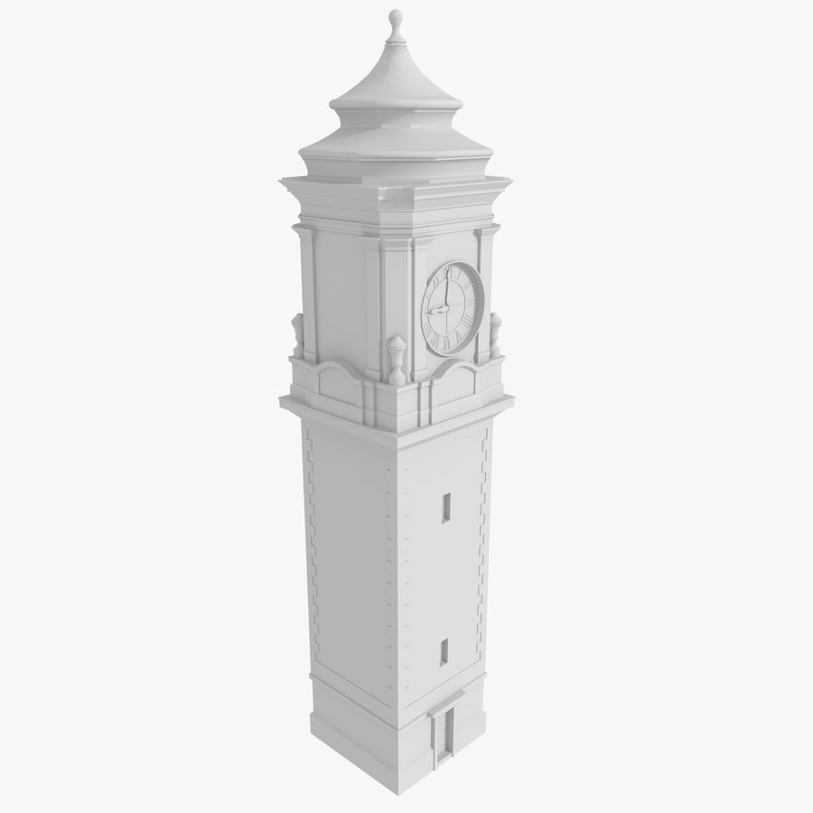 Clock tower one royalty-free 3d model - Preview no. 2
