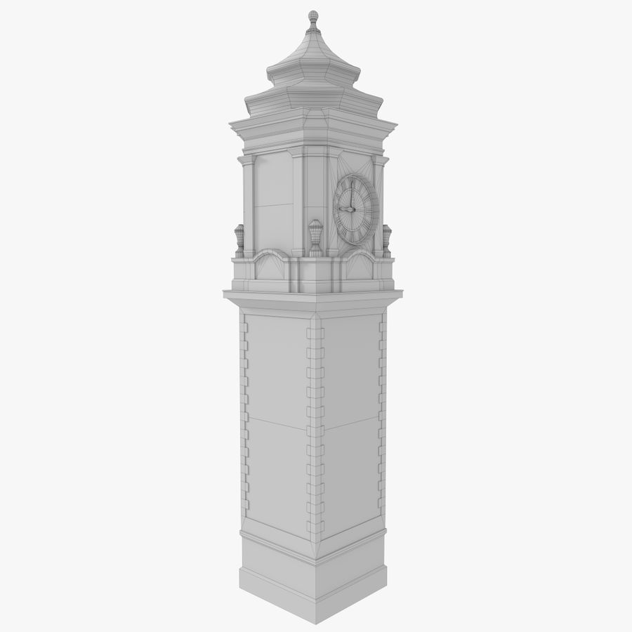 Clock tower one royalty-free 3d model - Preview no. 12